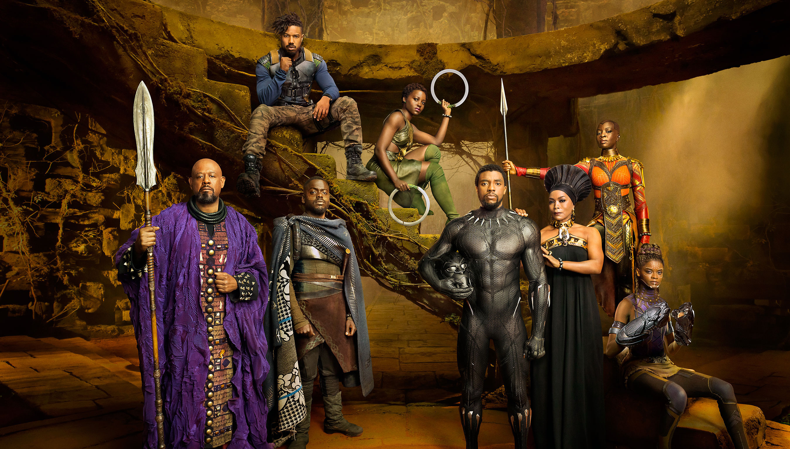 Marvel Studios' BLACK PANTHER Forest Whitaker as Zuri, Daniel Kaluuya as W'Kabi, Michael B. Jordan as Erik Killmonger, Lupita Nyong'o as Nakia, Chadwick Boseman as Black Panther/T'Challa, Angela Bassett as Ramonda, Danai Gurira as Okoye, and Letitia Wright as Shuri photographed exclusively for Entertainment Weekly by Kwaku Alston on March 18, 2017 in Atlanta, Georgia. Kwaku Alston � 2017 MVLFFLLC. TM & � 2017 Marvel. All Rights Reserved.